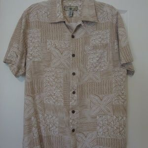 Short Sleeve Button Down Tropical Print Shirt